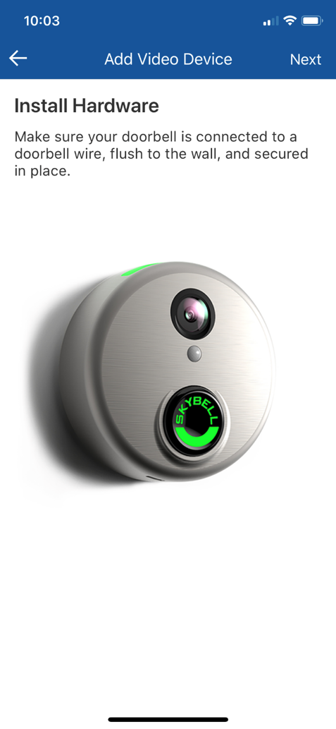 How to synchronize the doorbell camera to your Wi-Fi and Bell Smart Home service.