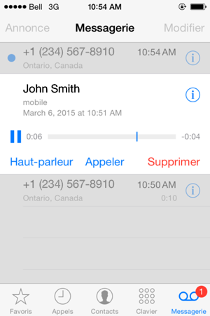 Messagerie vocale visuelle pour iPhone