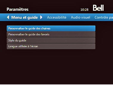 Fibe TV menu - Customize Channel Guide