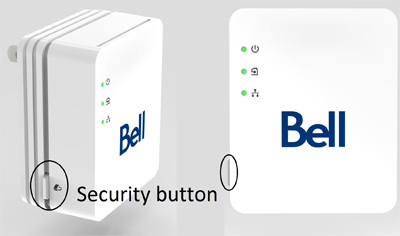 Press the Security button on the side of the Internet Connect kit